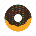 bakery, biscuit, chocolate, dessert, donut, doughnut, food icon