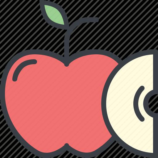 apple, eating, food, health, nutrition, slice icon