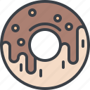 chocolate, desert, doughnut, food, junk food, sweets icon