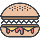 burger, eating, fast food, food, hamburger, junk food icon
