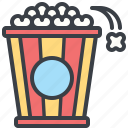 corn, eating, food, movie, popcorn icon