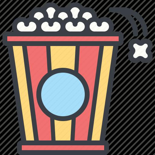 corn, eating, food, movie, popcorn icon