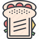 bread, eating, fast food, food, lunch, sandwich icon