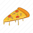 art, cartoon, dinner, food, pepperoni, pizza, slice icon