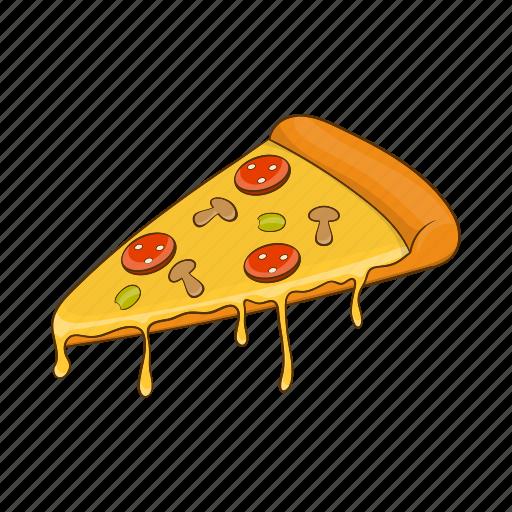art, cartoon, dinner, food, pepperoni, pizza, slice icon