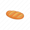 baguette, bakery, bread, breakfast, cartoon, fresh, loaf icon