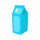 carton, cartoon, drink, milk, packaging, product icon