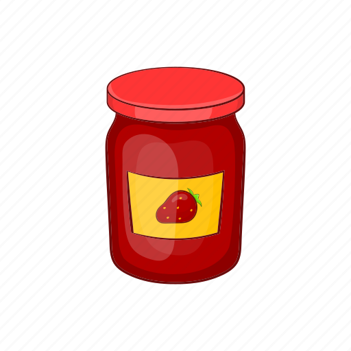 cartoon, dessert, jam, jar, marmalade, strawberry, sweet icon