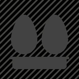 breakfast, egg, eggs, food, hen, tray, white icon