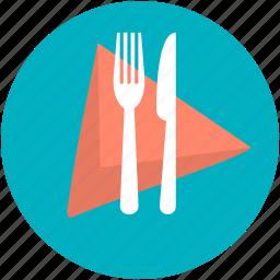 dining, fork, knife, napkin, restaurant icon