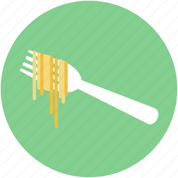 eating, flatware, fork, fork with noodles, utensil icon