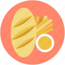 baguette, bakery item, bread, breakfast, french bread icon