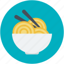 bowl, chopsticks, noodles, spaghetti, vermicelli icon