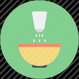 adding salt, cooking, food bowl, saltshaker, seasoning icon