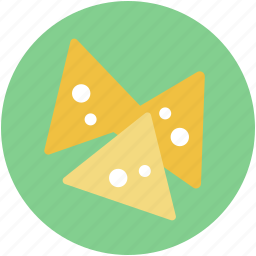 corn chips, food, guacamole, tortilla chips, totopos icon