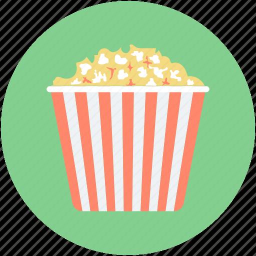 maize corn, popcorn, popcorn box, popping corn, snack pack icon