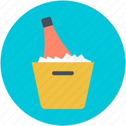 alcohol, champagne bucket, wine bottle, wine bucket, wine cooler icon