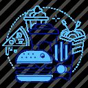 pizza, wok, fast food, takeaway icon