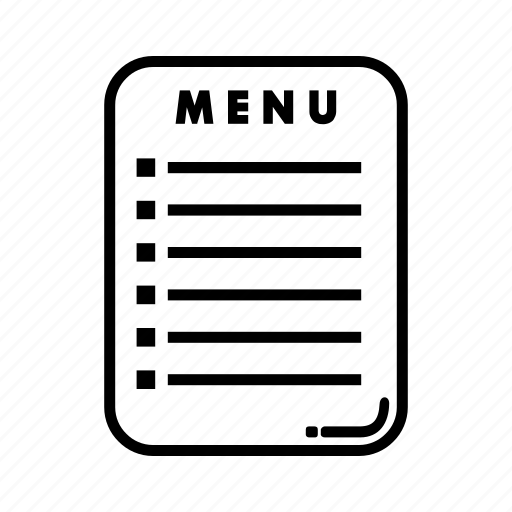 document, drink, file, food, menu, page, paper icon
