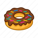 bakery, chocolate, cream, delicacy, donuts, police, sweet icon