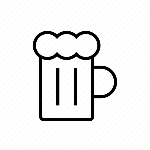 alcohol, and, beer, beverage, drink, food, glass, kitchen, outline icon