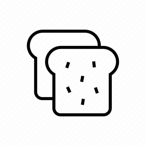 and, bakery, bread, breakfast, food, kitchen, outline, toast icon