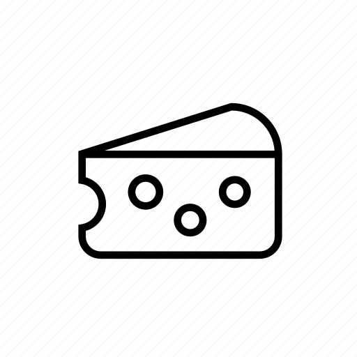 and, cheese, food, ingredient, kitchen, outline, piece, slice icon