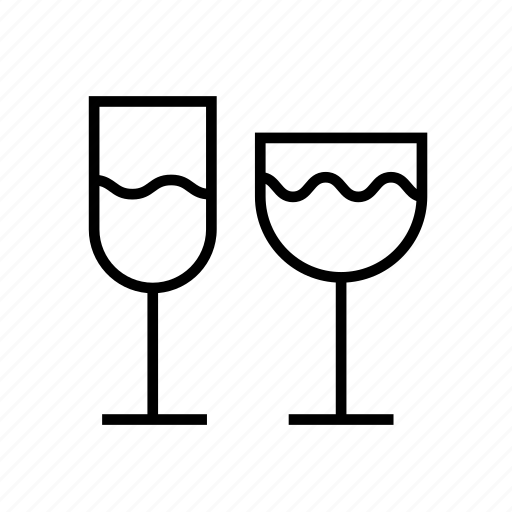 alcohol, and, beverage, drink, drinks, food, glass, kitchen, outline icon
