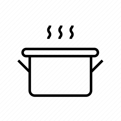 and, cooking, food, kitchen, kitchenware, outline, pot, pot02 icon