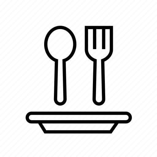 and, dish, food, fork, kitchen, outline, spoon icon