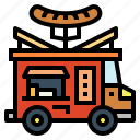 fast, food, junk, sausages, truck icon
