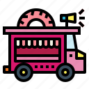delivery, doughnut, food, truck, van icon