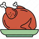 chicken, hen, meal, piece, poultry icon