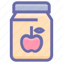 apple, apple flavor, apple jam, breakfast, jam, jar of jam, marmalade icon
