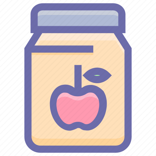 apple, apple flavor, apple jam, breakfast, jam, jar of jam, marmalade icon