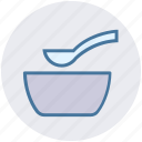 bowl, food, hot food, hot soup, snack, soup, spoon icon