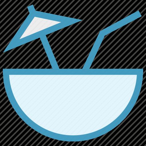 bowl, coconut, coconut juice, drink, food, juice icon
