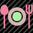 eating, flatware, fork, plate, spoons set, tableware, utensil