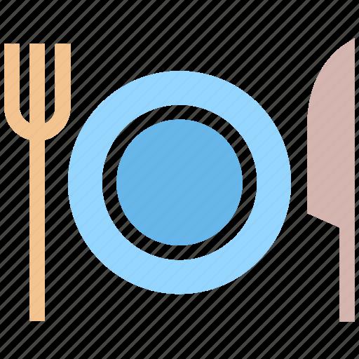eating, flatware, fork, knife, plate, tableware, utensil icon