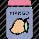breakfast, food, jam, jar, jar of jam, mango flavor, mango jam