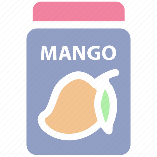 breakfast, food, jam, jar, jar of jam, mango flavor, mango jam icon