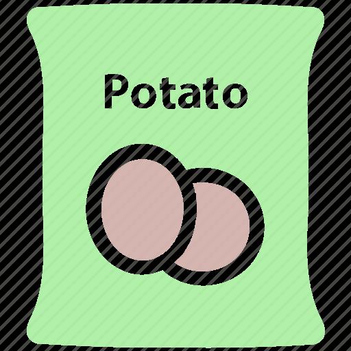 food, potato, potato bag, potato pack, potato sack, sack, vegetable icon