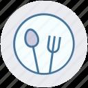 eating, flatware, fork, plate, spoons set, tableware, utensil icon
