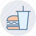 beverage, breakfast, burger, coke, drink, drink and burger, food icon