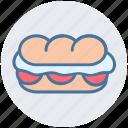 burger, eating, fast food, hamburger, junk food, long burger icon
