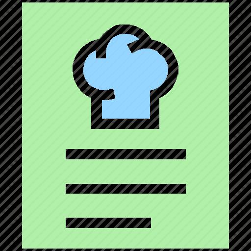 carte du jour, food list, food menu, meal menu, menu book, restaurant menu icon