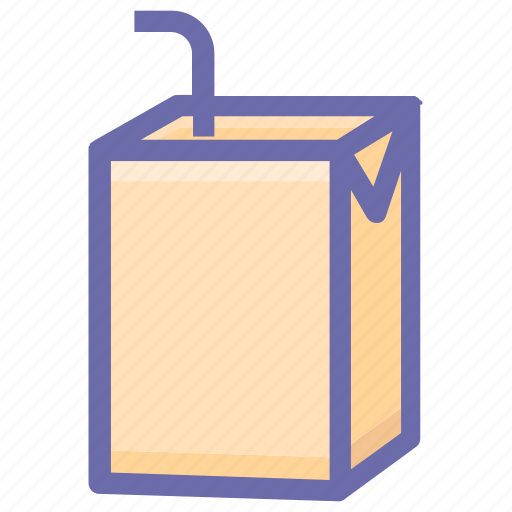 beverage, box, drink, juice, package, product, straw icon