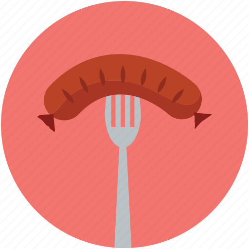 food, fork, sausage, wiener icon