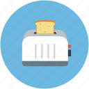 kitchen, toaster, toaster with toast, toasting in toaster icon