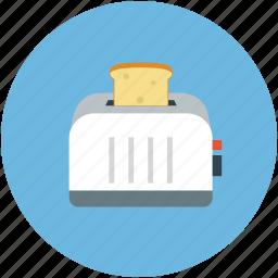 kitchen, toaster, toaster with toast, toasting in toaster icon